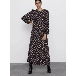 ZARA Black and Pink Floral Maxi Dress